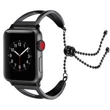 Preto de Aço Inoxidável Pulseira Elo Da Cadeia Para Apple Acessórios Pulseira Faixa de Relógio Pulseira de Relógio Inteligente Para i-Série relógio 1 2 3