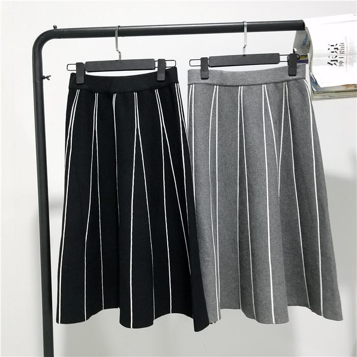 HTB1Fr0vOVXXXXaVaFXXq6xXFXXXe - FREE SHIPPING Womens Skirt Vintage  Line Striped Slim High Waist Knitted Long Black Grey JKP248
