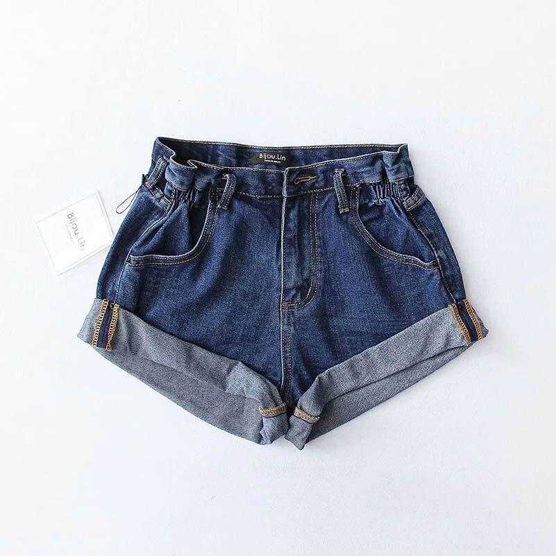 NiceMix Vintage black Khaki cotton denim shorts women elastic high waist shorts Summer casual hot slim jean shorts clothing 2019 in Shorts from Women 39 s Clothing