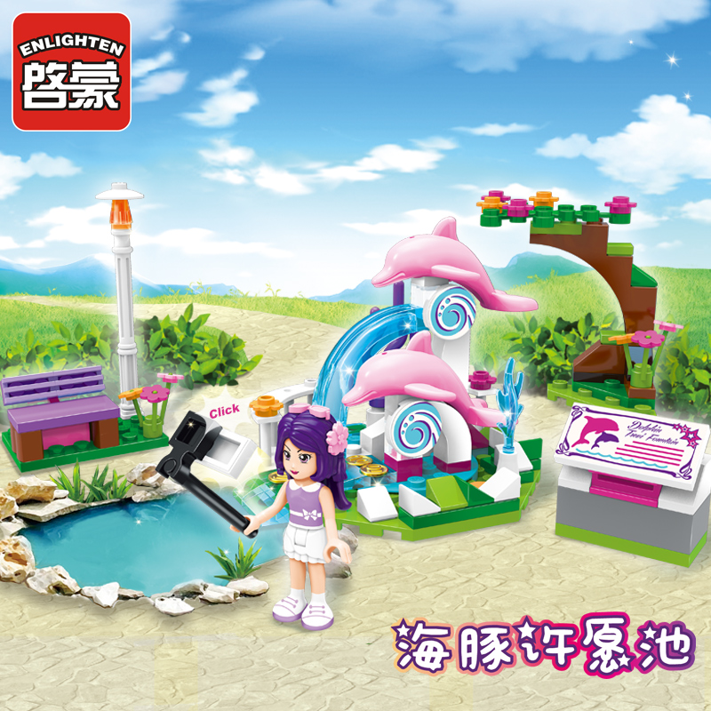 Enlighten Building Block Girls Friends Dolphin Trevi Fountain 1 Figures 109pcs Educational Bricks Toy Boy Gift-No Box