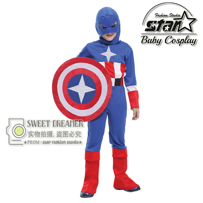 High Quality 4-12T Children's Halloween Cosplay Costumes Boys Captain America Steve Rogers Suit Kids 4pcs Suits+Hat+Belt+Shield the avengers civil war captain america shield 1 1 1 1 cosplay captain america steve rogers abs model adult shield replica