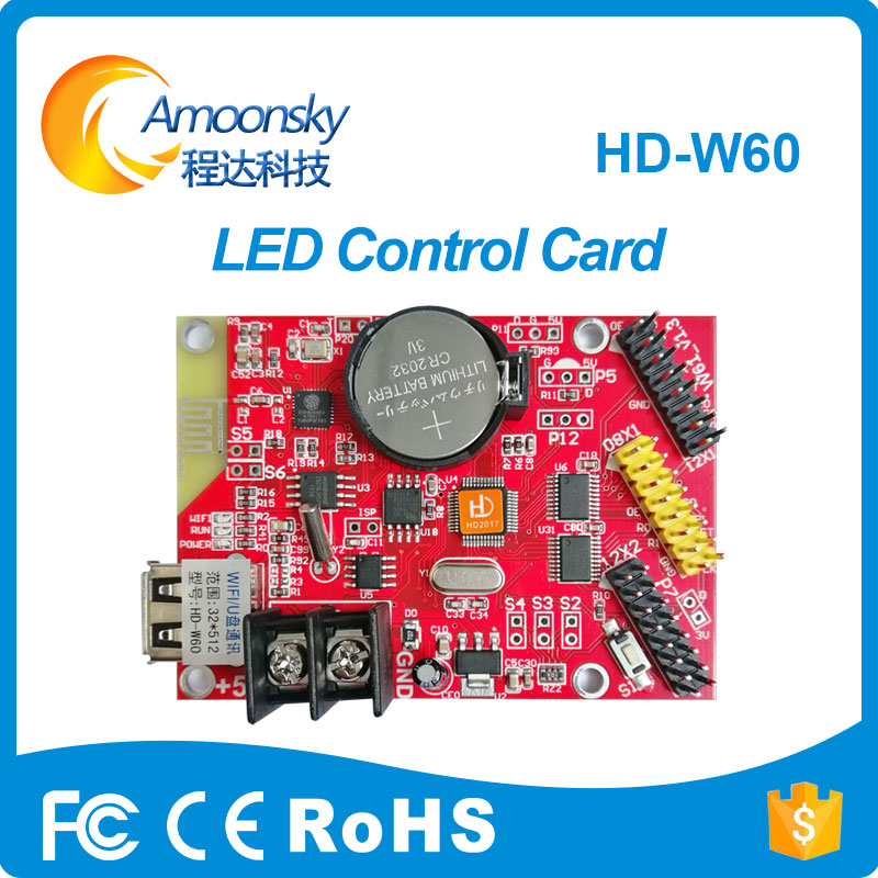 Huidu Hd-w60 Led Controller P10 Programable Scrolling Advertising Display Control Card For Red Green Blue Yellow Signal Color