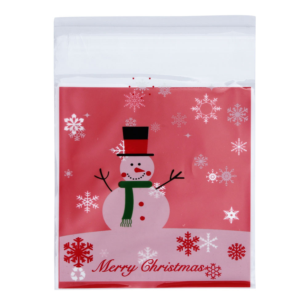 A Set Shrink Wrap Bags OPP Christmas Snowman Cake Bags Candy Wrapping Paper Santa Sacks  ...