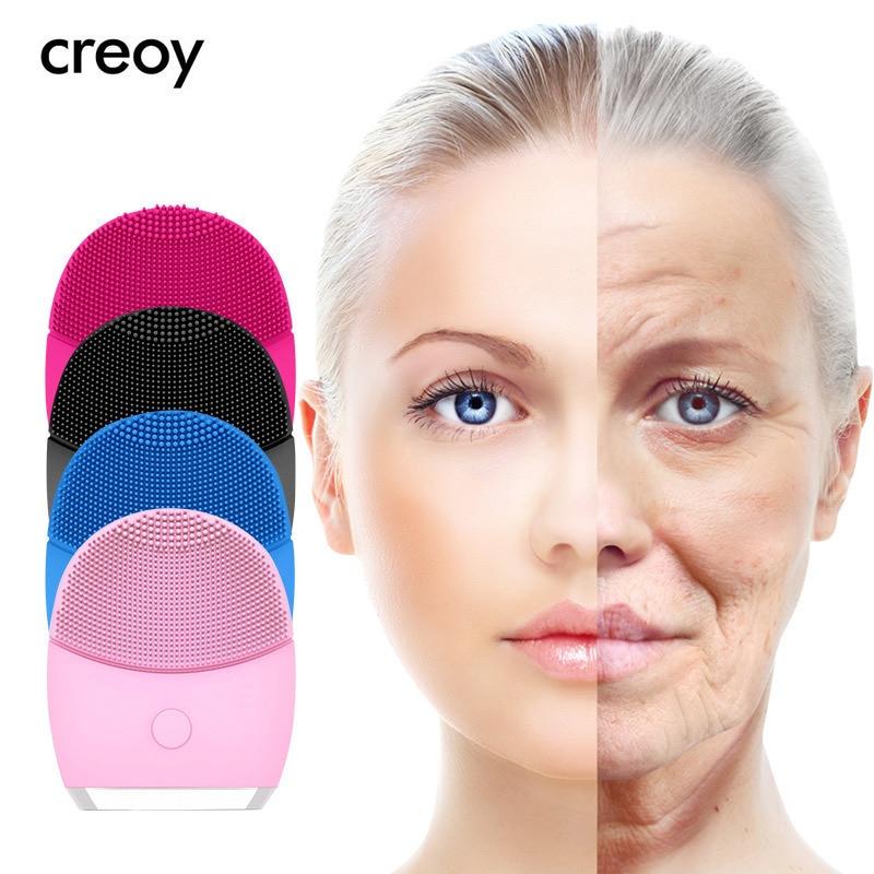 CREOY высокочастотный Электрический силиконовый щетка для чистки лица Sonic лицо Чистка щеткой очиститель пор Инструменты для ухода за кожей лица купить на AliExpress