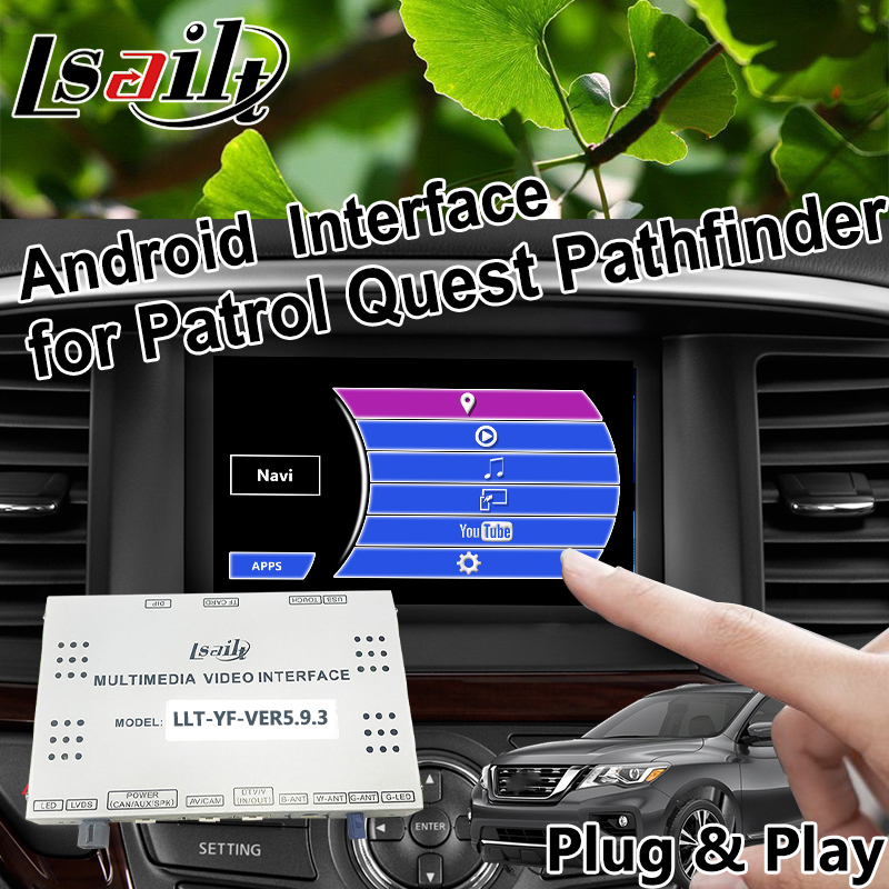 For Nissan Patrol Pathfinder Quest Android 6.0 GPS navigation video Interface integration WIFI waze Mirrorlink OEM Knob Control