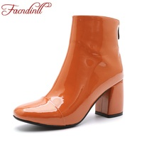 FACNDINLL 2017 New Fashion Patent Leather Ankle Boots For Women High Heels Round Toe Black Zipper