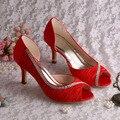 Wedopus MW108A Top Venda As Mulheres Se Vestem Sapatos Meados Calcanhar de Cetim Vermelho Bombas Festa À Noite