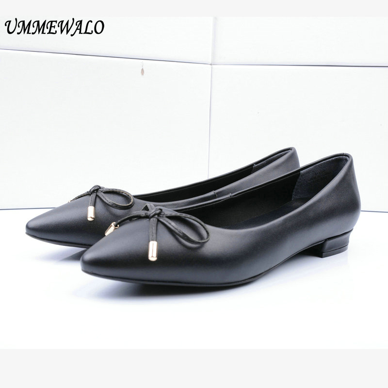 UMMEWALO Flat Shoes Women Genuine Leather Flats Fashion High Qualiy Pointed Toe Ballerina Ballet Shoes Ladies