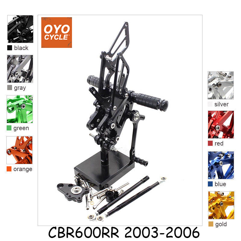 CNC Adjustable Rearsets Foot Rest Foot Pegs Foot Rests For Honda CBR600RR 2003-2006 CBR600 F4 2001-2004 CBR 600 600RR motoo full cnc aluminum motorcycle adjustable rearsets rear sets foot pegs for honda cbr600rr cbr 600rr cbr 600 rr 2003 2006
