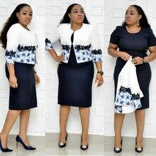 2019 new arrival summer elegent african women printing plus size dress suit XL-5XL