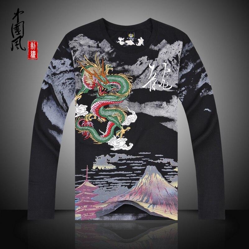 Китайская национальная ветер Дракон вышивка рубашки кунг-фу Рубашка Топы новые летние-поступление Длинные рукава высокого качества Хлопко...