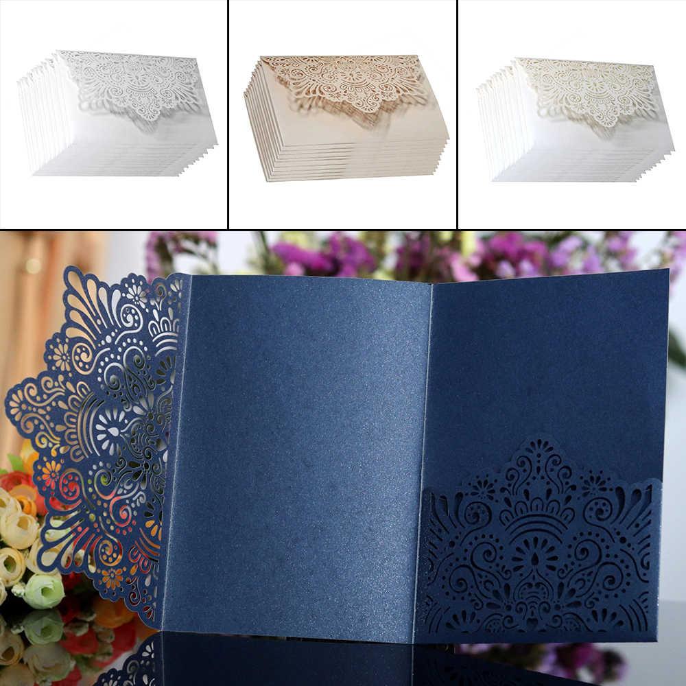 10pcs White Champagne Blue Laser Cut Luxury Flora Wedding