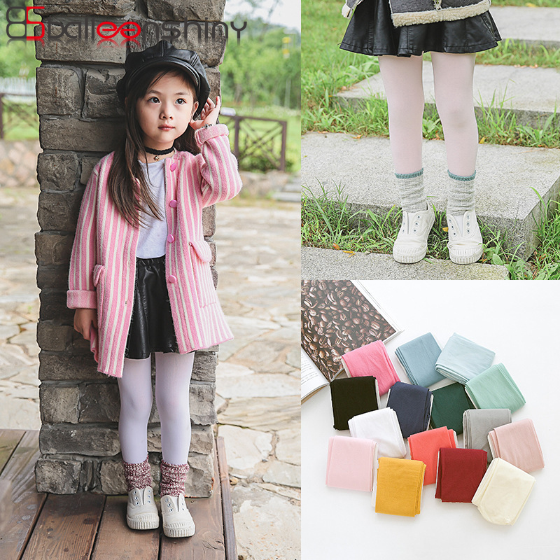 BalleenShiny Hot Sale Baby Girl Velvet Tights Candy Color Dancing Panty-hose Fashion Beautiful Spring Autumn Children Tights