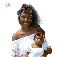 BRW 2019 African Ankara Head Wraps for Women and baby African Ankara Scarves African Wax Print Clothing Fabric Head Bands WYB59