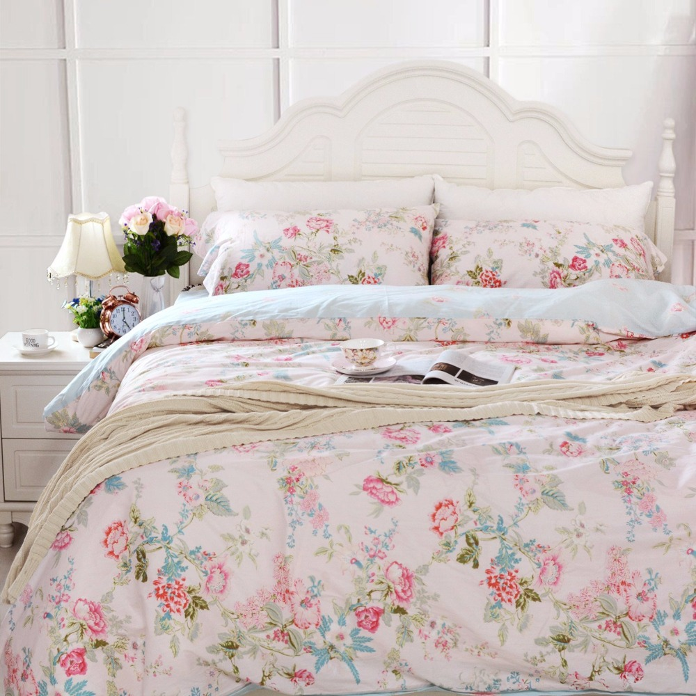 fadfay pink blue floral bedding sets 100 cotton duvet cover bed comforter sets cotton girls. Black Bedroom Furniture Sets. Home Design Ideas