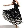 Nova Verão/Outono Mulheres Europa Chiffon Ponto Onda Sem Mangas Vestido Longo Maxi vestidos de Impressão Desgaste do Trabalho Vestir Roupas de Praia