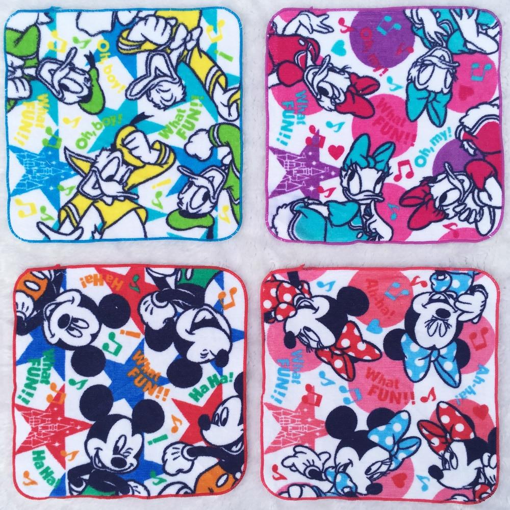 3PCS Cartoon Minnie Mickey Donald Duck Square Pocket Hanky Printed Baby Handkerchief Children Portable Cotton Towels 22CM zakdoe