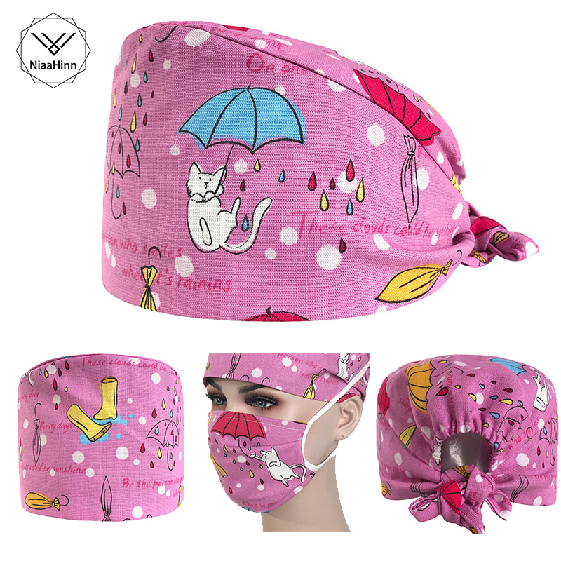 Pink Cat Printed Cap Hospital Laser Eye Operating Room Hats Doctor Nurse Unisex Medical Surgical Beauty Dentist Scrub Cap Mask