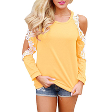 2019 Women Long Sleeve Lace Blouse Causal Loose Solid Tops Tees Sexy Off Shoulder O-neck Blouse Shirt Fashion Blusa Feminina 2XL