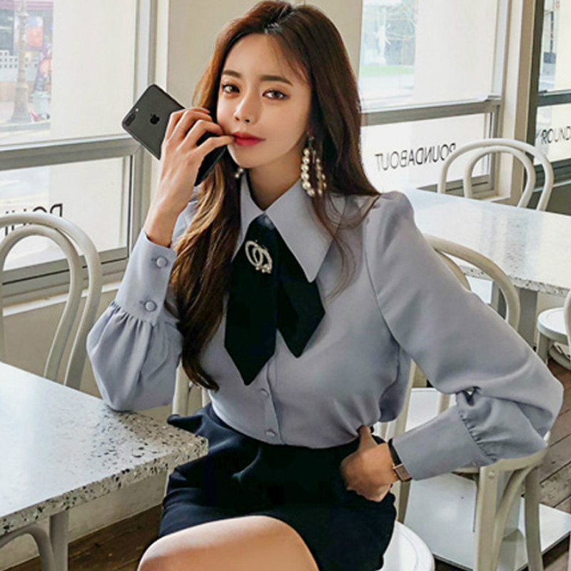 2019 Spring OL Top Solid Casual Long Sleeve Bow-Tie Office Work   Blouse     Shirt