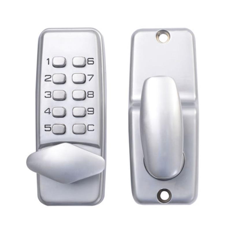 LHLL-Digital mechanical code lock keypad password Door opening lock mechanical code door lock digital machinery keypad password entry lock stainless steel latch zinc alloy silver 1718