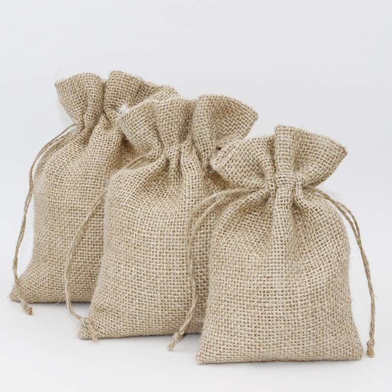 5Pcs 14x18cm Drawstring Vintage Natural Burlap Hessia Candy Bags Wedding Party Favor Custom Pouch Jute Packaging Bags