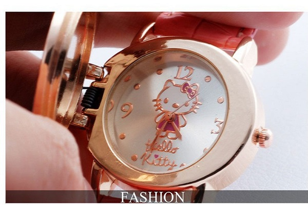 Hello Kitty Crystal Watches passer til Childlren Ladies Women Cartoon - Børneure - Foto 6
