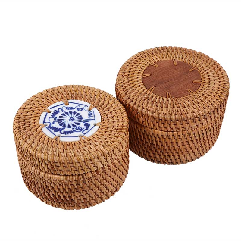 rattan storage box with lid round handwoven jewelry box organizer wooden bins for green