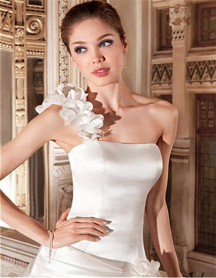 37452c762f 2015 Empire One Shoulder Wedding Gown Vestido De Noiva Ruched Backless  Wedding Gown Chinese Shopping Online Satin Weddign Dress on Aliexpress.com    Alibaba ...