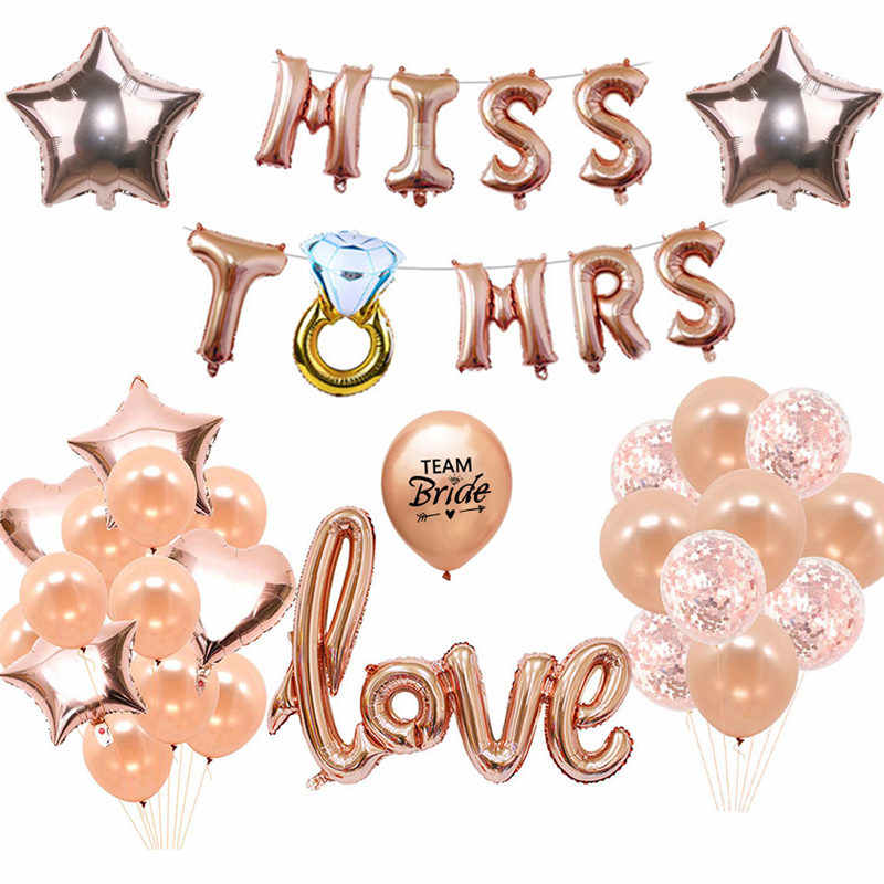 16/'/' Rose Gold Letter Foil Balloon Bride To Be Diamon Banner Wedding Party Decor