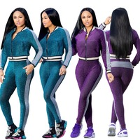 European fashion two pieces bodycon jumpsuit winter long sleeve bodysuit women patchwork velvet body women romper CM259