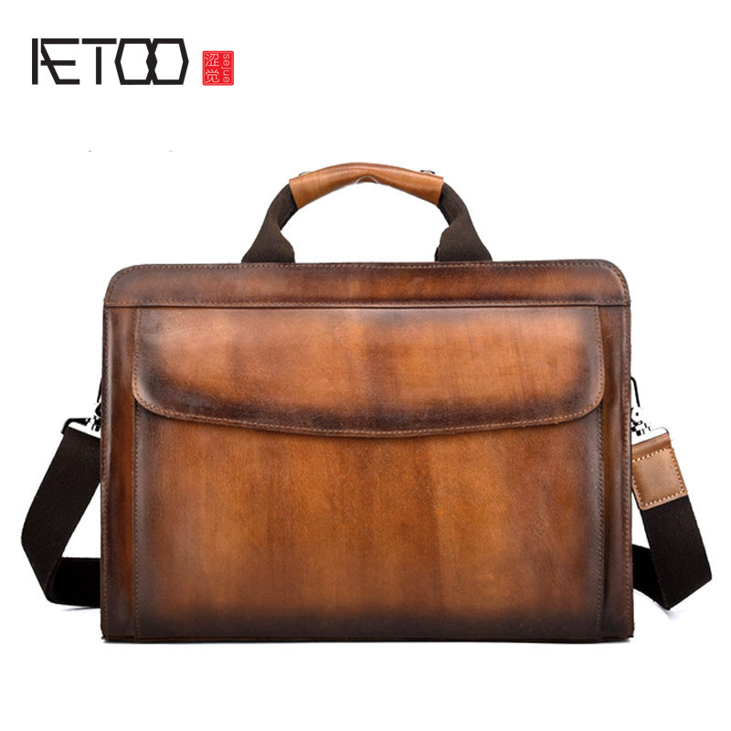 AETOO Business Briefcases Man for lawyer Genuine Leather Messenger Bag Men Shoulder Bags leather laptop men