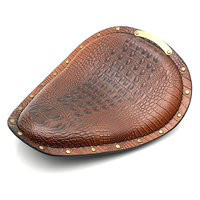 Motorcycle Retro Brown Crocodile Leather Solo Seat for Harley Custom Chopper Bobber Leather Saddle Seat