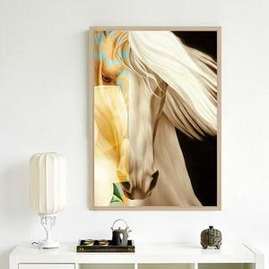 Image 5 - Tiere Wand Kunst Bilder Golden Horse HD Drucke Poster Moderne Lebendige Leinwand Malerei Für Wohnzimmer Schlafzimmer Dekoration