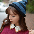 Korea New Autumn and Winter Cute Pointy Top Knitted Strip Hat Wool Hat for Women  Beanies Bone