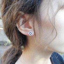 Four Leaf Clover Flower 999 Sterling Silver Stud Earrings For Women Blue Earring Cloisonne Enamel Luxury Jewelry Small Studs