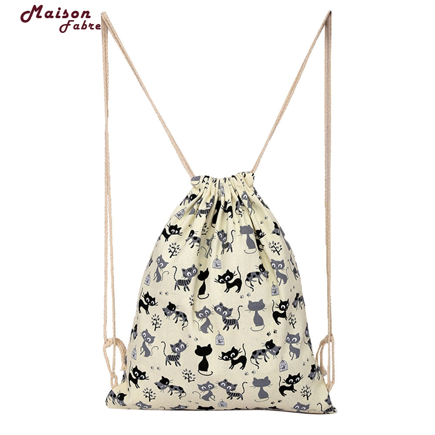 Fashion Unisex Backpacks Printed Drawstring Bag Storage Bag 3 Sizes Travel Casual Shopping Drawstring Bag Maison Fabre 726#30