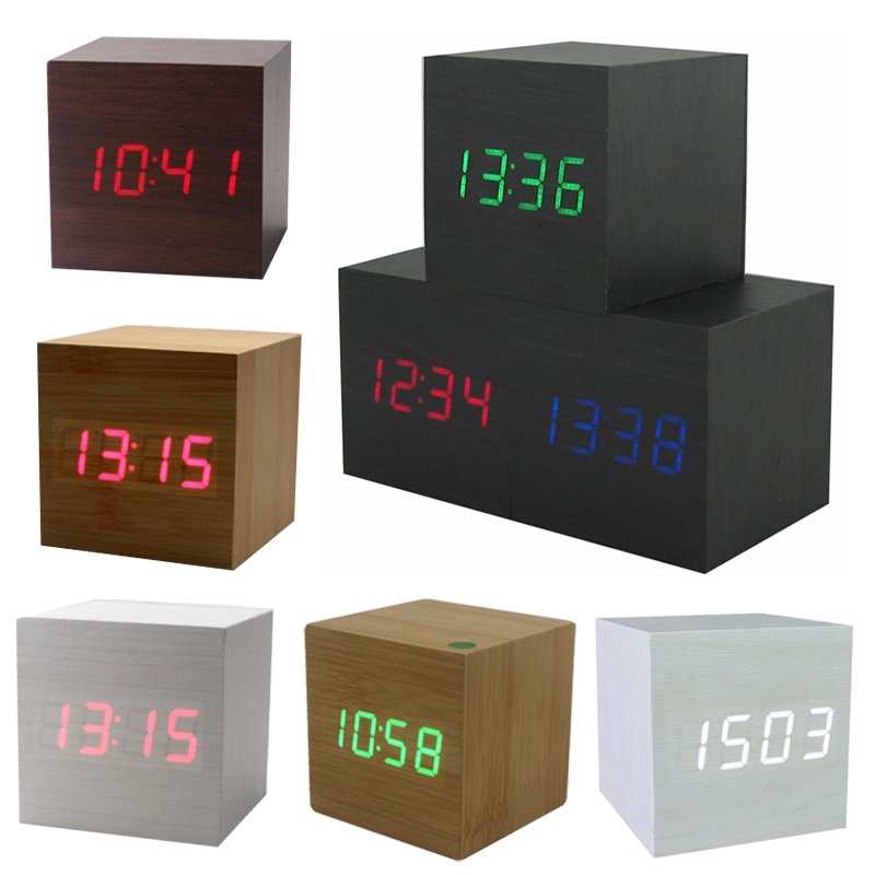 2018 Wood Enelectronic Desk Clock Digital LED Alarm Clock Nigh light Sounds Control LED Electronic Desk Clock With Temperature