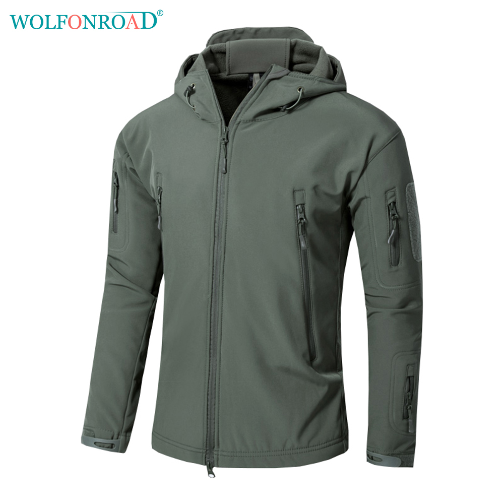 WOLFONROAD Men Outdoor Soft Shell Army Jacket Military Tactical Jacket Waterproof Hiking Hunting Jacket Coat Sport