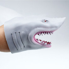 13.5cm TPR green plastic gray simulation shark hand puppet shark gloves toy Free shipping little shark finger puppet book