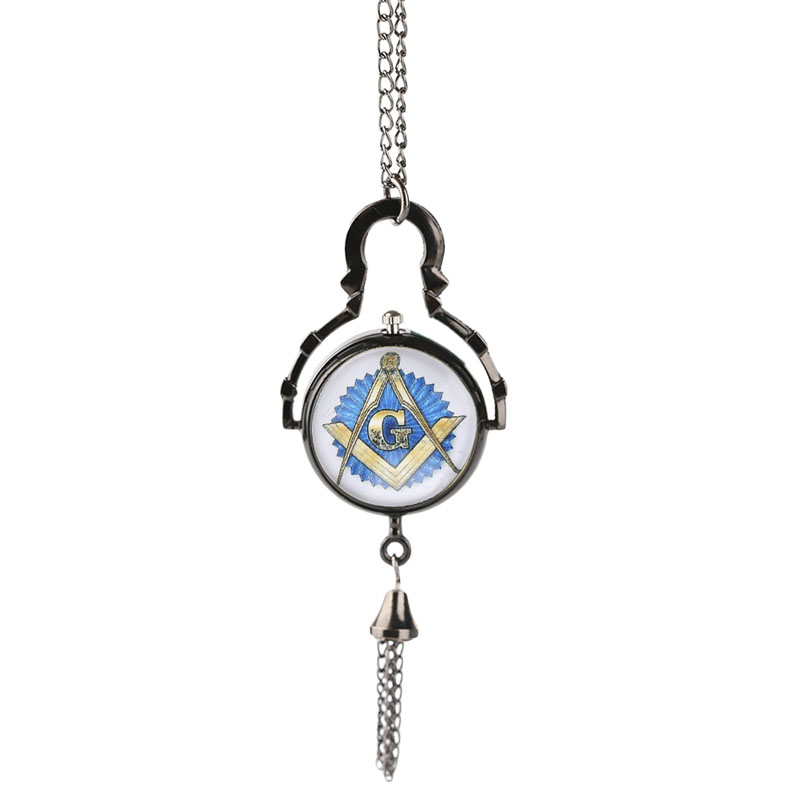 Free-mason Vintage Masonic Freemason Pocket Watch Tassel Pendant Long Necklace Men Women Fob Hour Gift Xmas Birthday 2017 hot theme masonic freemason freemasonry g pocket watch men gift watch free shipping p1198