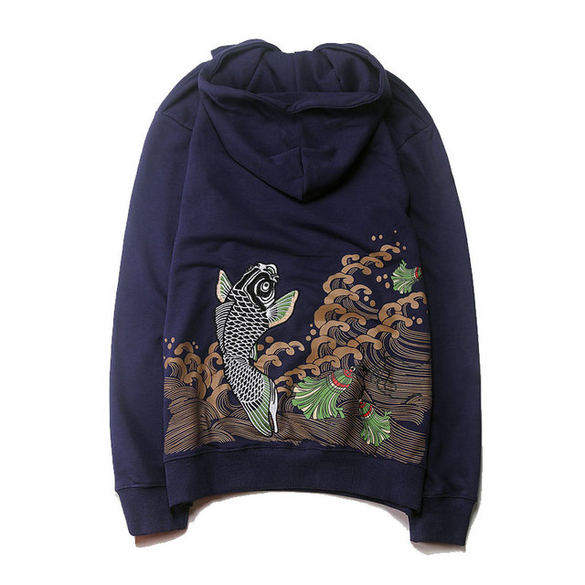 7813f3a2 Japanese Style Embroidery Koi Carp Hoodies 2017 Autumn Fashion Ocean  Printed SweatshirtS Hip Hop Pocket Pullover Hoody Hoodie