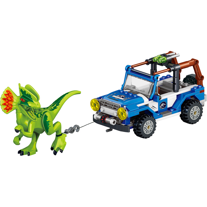 259 PCS New Jurassic World Dinosaur with Chariot soldiermodel Building Blocks sets Compatible legoINGLYS Children Blocks Toys 2 sets jurassic world tyrannosaurus building blocks jurrassic dinosaur figures bricks compatible legoinglys zoo toy for kids