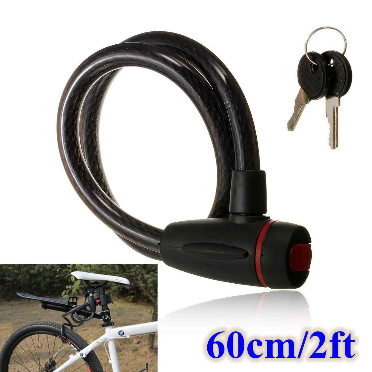 Keylock Bike Bicycle Cycle Spiral Lock 2 Keys Steel Cable Chain