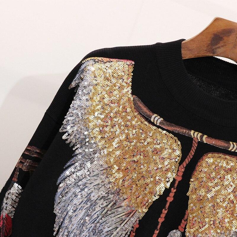 Femmes Ailes Tricot À Rond Automne Qualité Casual Black Pièces Manches Costume Haute Cakucool Longues Ensemble De Perlé Col Nouveau Noir Deux Embroid Caxw700Hq