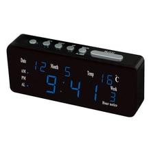 LED digital display desktop multi-function alarm clock modern home decoration multi-color display time date temperature clock