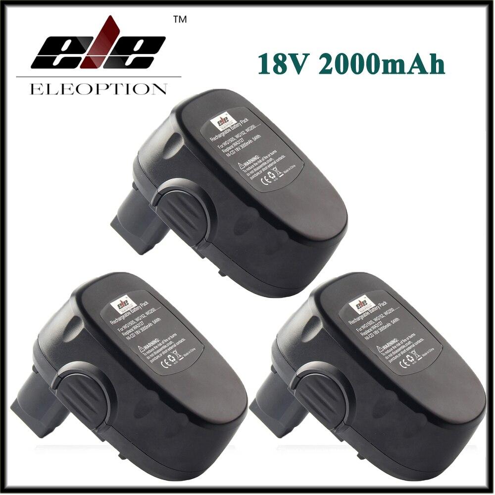 3x Высокое Качество Eleoption 18 В 2000 мАч 2.0Ah Ni-CD Аккумуляторы для <font><b>WORX</b></font> WA3127 WG150s WG152 WG250 WG541 WG900 WG901