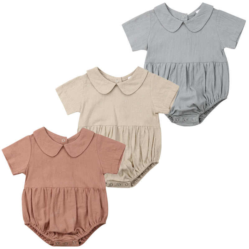 Baby Girl Infant Solid Collar   Romper   Short Sleeve Jumpsuit Outfits Clothes Summer Baby Clothing