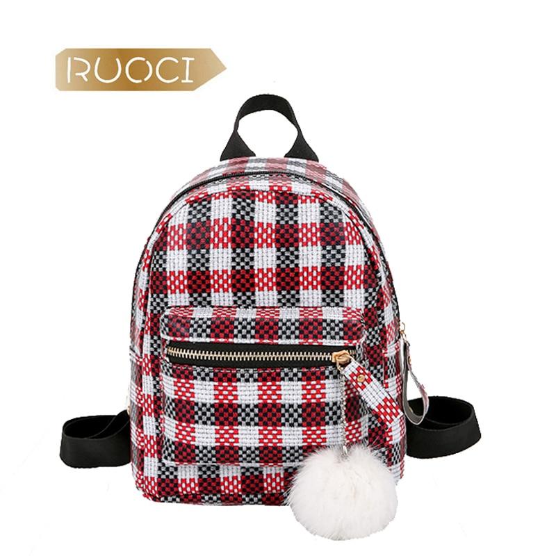 RUOCI Fashion Mini Plaid Backpacks Women Colorful Leather Back Shoulder Bags Plush Children Girls Cute Backbags Travel Mochila