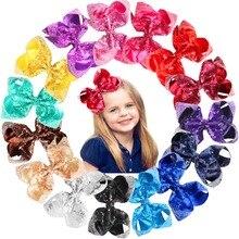 15 ピース 6 インチビッグ弓のためのブリンブリンキラキラスパンコール弓クリップブティック女の子のための子供子供女性